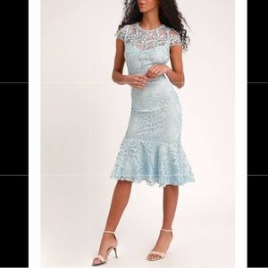 LOVINGLY YOURS BLUE EMBROIDERED MIDI TRUMPET DRESS
